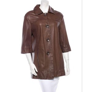 Vince Leather Trench Coat M